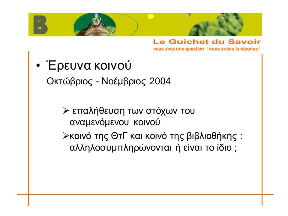 Έρευνα κοινού Οκτώβριος - Νοέμβριος 2004  επαλήθευση των στόχων του αναμενόμενου κοινού  κοινό της ΘτΓ και κοινό της βιβλιοθήκης : αλληλοσυμπληρώνον