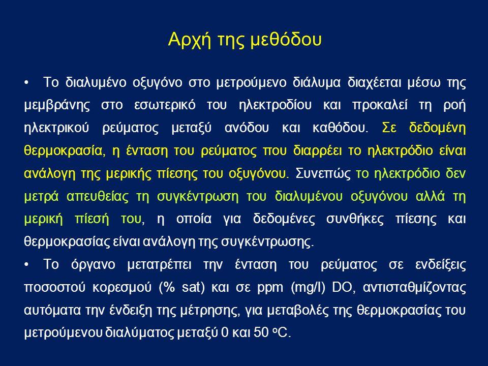 ΠΕΙΡΑΜΑΤΙΚΟ ΜΕΡΟΣ Όργανα και Σκεύη α) Οξυγονόμετρο β) Κωνική φιάλη, μαγνητικός αναδευτήρας Αντιδραστήρια Πρότυπο διάλυμα 0% DO.
