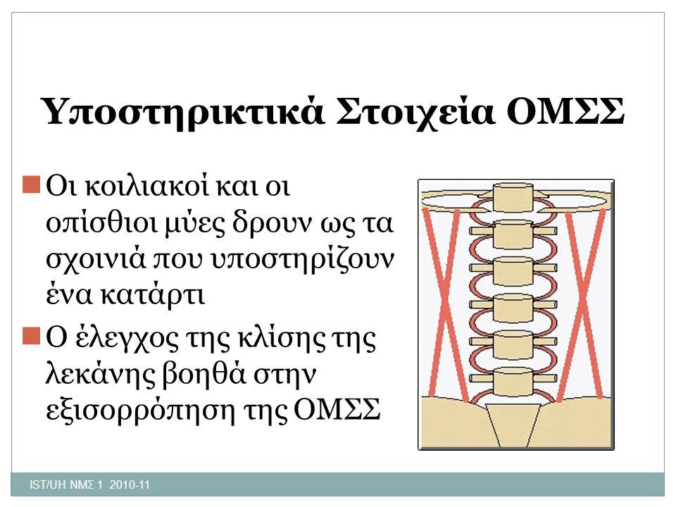 IST/UH ΝΜΣ 1 2010-11 Υποστηρικτικά Στοιχεία ΟΜΣΣ Οι κοιλιακοί και οι οπίσθιοι μύες δρουν ως τα σχοινιά που υποστηρίζουν ένα κατάρτι Ο έλεγχος της κλίσ