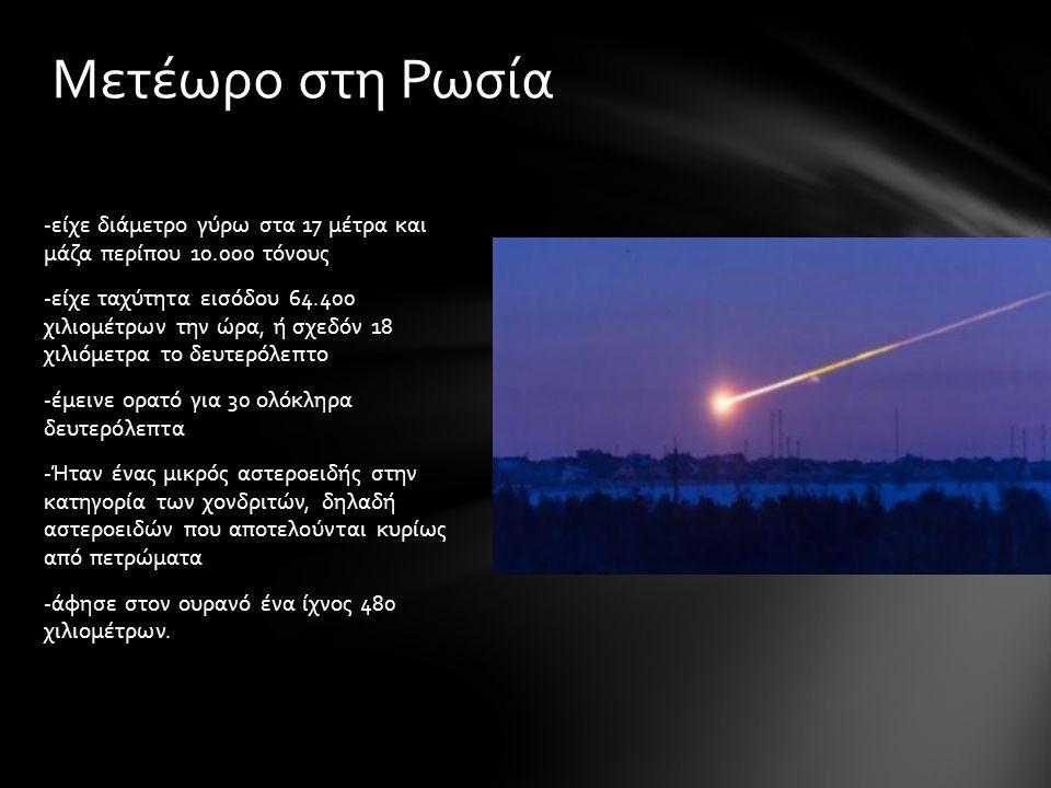 -είχε διάμετρο γύρω στα 17 μέτρα και μάζα περίπου 10.000 τόνους -είχε ταχύτητα εισόδου 64.400 χιλιομέτρων την ώρα, ή σχεδόν 18 χιλιόμετρα το δευτερόλεπτο -έμεινε ορατό για 30 ολόκληρα δευτερόλεπτα -Ήταν ένας μικρός αστεροειδής στην κατηγορία των χονδριτών, δηλαδή αστεροειδών που αποτελούνται κυρίως από πετρώματα -άφησε στον ουρανό ένα ίχνος 480 χιλιομέτρων.