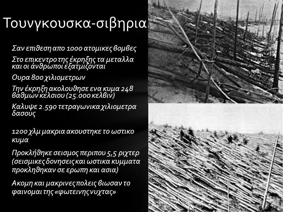 Σαν επιθεση απο 1000 ατομικες βομβες Στο επικεντρο της έκρηξης τα μεταλλα και οι άνθρωποι εξατμιζονται Ουρα 800 χιλιομετρων Την έκρηξη ακολουθησε ενα κυμα 248 βαθμων κελσιου (25.000 κελβιν) Καλυψε 2.590 τετραγωνικα χιλιομετρα δασους 1200 χλμ μακρια ακουστηκε το ωστικο κυμα Προκλήθηκε σεισμος περιπου 5,5 ριχτερ (σεισμικες δονησεις και ωστικα κυμματα προκληθηκαν σε ερωπη και ασια) Ακομη και μακρινες πολεις βιωσαν το φαινομαι της «φωτεινης νυχτας» Τουνγκουσκα-σιβηρια