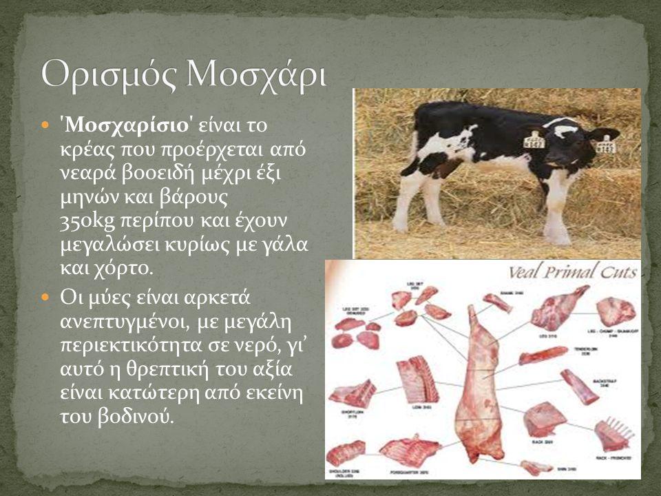 'Βοδινό' είναι το κρέας που προκύπτει από πλήρως ανεπτυγμένα βοοειδή ηλικίας 2 ετών περίπου και άνω Το βοδινό κρέας είναι χυμώδες, έχει πυκνό ιστό, έν