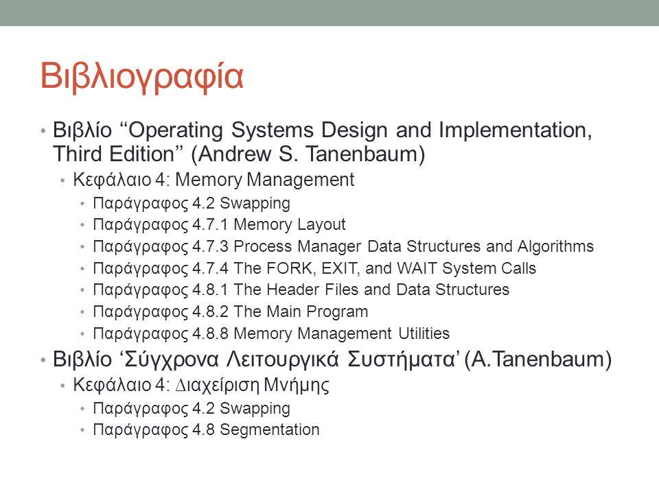 Βιβλιογραφία Βιβλίο ''Operating Systems Design and Implementation, Third Edition'' (Andrew S. Tanenbaum) Κεφάλαιο 4: Memory Management Παράγραφος