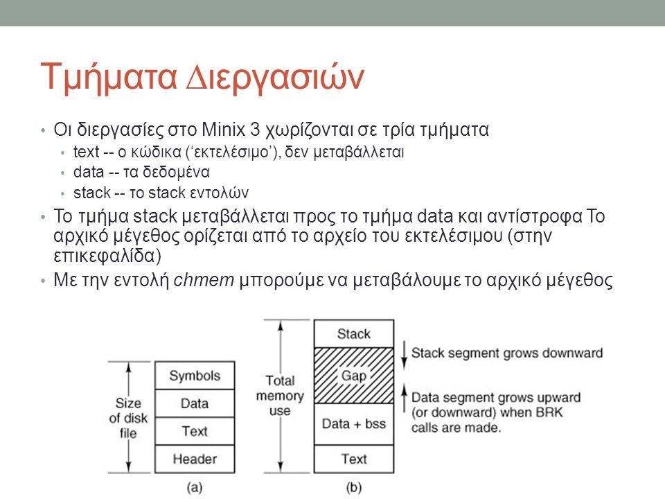 Τμήματα ∆ιεργασιών Οι διεργασίες στο Minix 3 χωρίζονται σε τρία τμήματα text -- ο κώδικα ('εκτελέσιμο'), δεν μεταβάλλεται data -- τα δεδομένα stack -- το stack εντολών Το τμήμα stack μεταβάλλεται προς το τμήμα data και αντίστροφα Το αρχικό μέγεθος ορίζεται από το αρχείο του εκτελέσιμου (στην επικεφαλίδα) Με την εντολή chmem μπορούμε να μεταβάλουμε το αρχικό μέγεθος