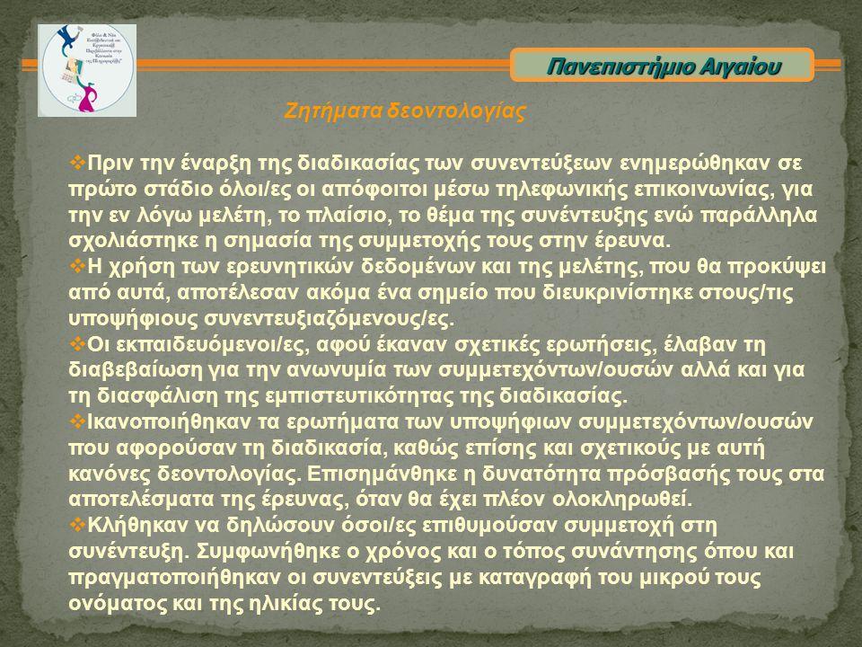 Πανεπιστήμιο Αιγαίου Αποτελέσματα Κωδικοποίηση Μετά την απομαγνητοφώνηση των συνεντεύξεων ακολούθησε η επεξεργασία τους.