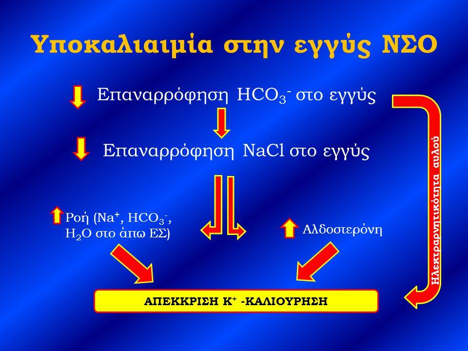 Υποκαλιαιμία στην εγγύς ΝΣΟ Επαναρρόφηση HCO 3 - στο εγγύς Επαναρρόφηση NaCl στο εγγύς Αλδοστερόνη Ροή (Na +, HCO 3 -, H 2 O στο άπω ΕΣ) ΑΠΕΚΚΡΙΣΗ K + -ΚΑΛΙΟΥΡΗΣΗ Ηλεκτραρνητικότητα αυλού