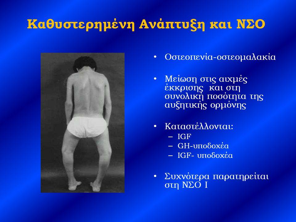 Καθυστερημένη Ανάπτυξη και ΝΣΟ Οστεοπενία-οστεομαλακία Μείωση στις αιχμές έκκρισης και στη συνολική ποσότητα της αυξητικής ορμόνης Καταστέλλονται: – IGF – GH-υποδοχέα – IGF- υποδοχέα Συχνότερα παρατηρείται στη ΝΣΟ I