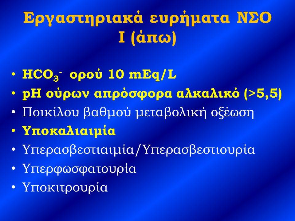 Εργαστηριακά ευρήματα ΝΣΟ I (άπω) HCO 3 - ορού 10 mEq/L pH ούρων απρόσφορα αλκαλικό (>5,5) Ποικίλου βαθμού μεταβολική οξέωση Υποκαλιαιμία Υπερασβεστιαιμία/Υπερασβεστιουρία Υπερφωσφατουρία Υποκιτρουρία