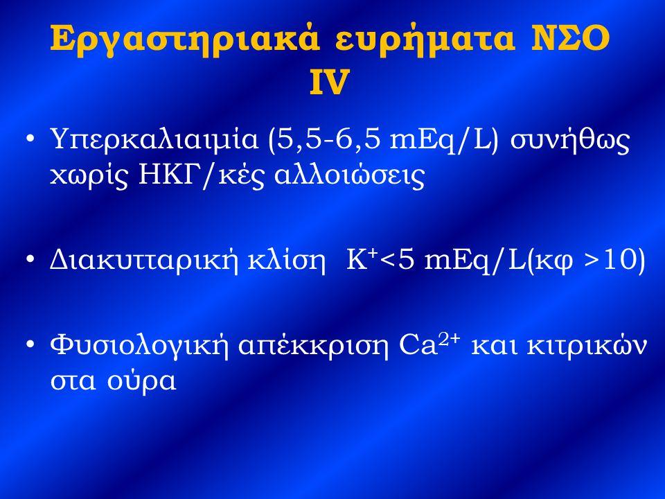 Εργαστηριακά ευρήματα ΝΣΟ IV Υπερκαλιαιμία (5,5-6,5 mEq/L) συνήθως χωρίς ΗΚΓ/κές αλλοιώσεις Διακυτταρική κλίση K + 10) Φυσιολογική απέκκριση Ca 2+ και κιτρικών στα ούρα