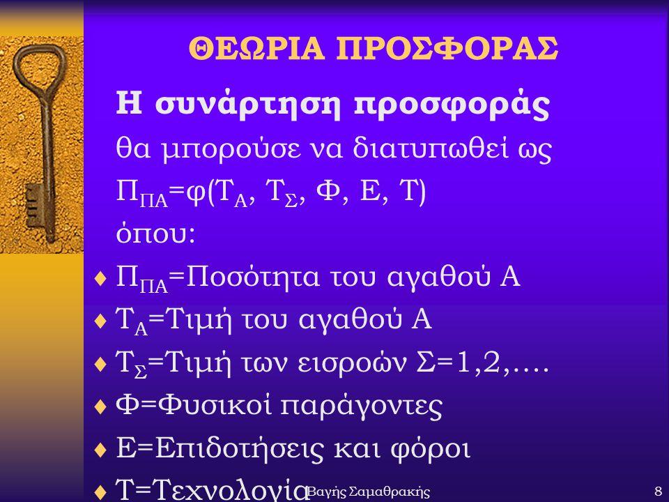 Βαγής Σαμαθρακής8 ΘΕΩΡΙΑ ΠΡΟΣΦΟΡΑΣ Η συνάρτηση προσφοράς θα μπορούσε να διατυπωθεί ως Π ΠΑ =φ(Τ Α, Τ Σ, Φ, Ε, Τ) όπου:  Π ΠΑ =Ποσότητα του αγαθού Α  Τ Α =Τιμή του αγαθού Α  T Σ =Τιμή των εισροών Σ=1,2,….