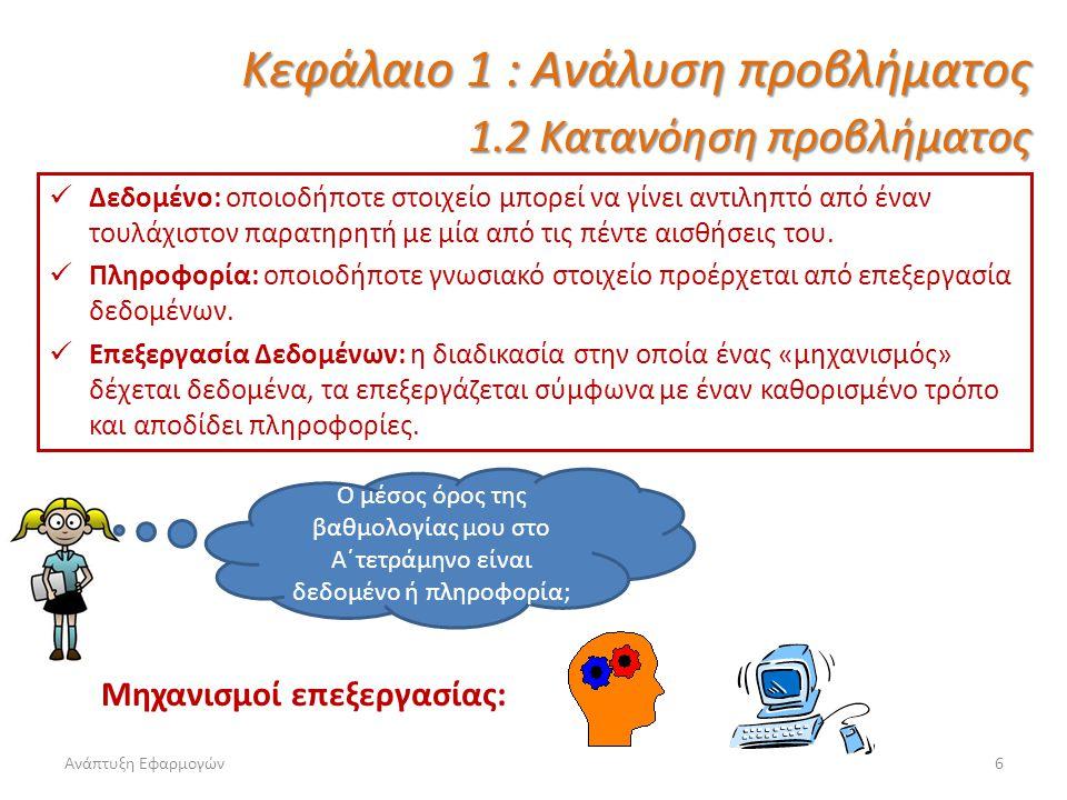 Ανάπτυξη Εφαρμογών7 Καλείστε να αντιμετωπίσετε ένα περίπλοκο και πολυπαραγοντικό πρόβλημα.