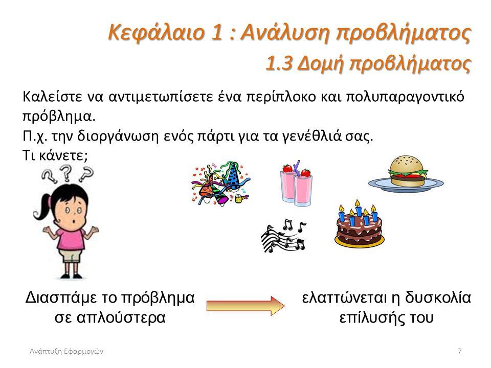 Ανάπτυξη Εφαρμογών7 Καλείστε να αντιμετωπίσετε ένα περίπλοκο και πολυπαραγοντικό πρόβλημα. Π.χ. την διοργάνωση ενός πάρτι για τα γενέθλιά σας. Τι κάνε