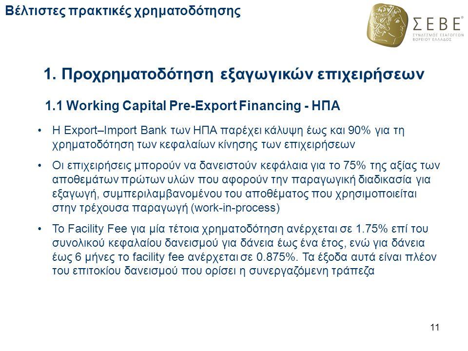 1. Προχρηματοδότηση εξαγωγικών επιχειρήσεων 11 Βέλτιστες πρακτικές χρηματοδότησης 1.1 Working Capital Pre-Export Financing - ΗΠΑ Η Export–Import Bank