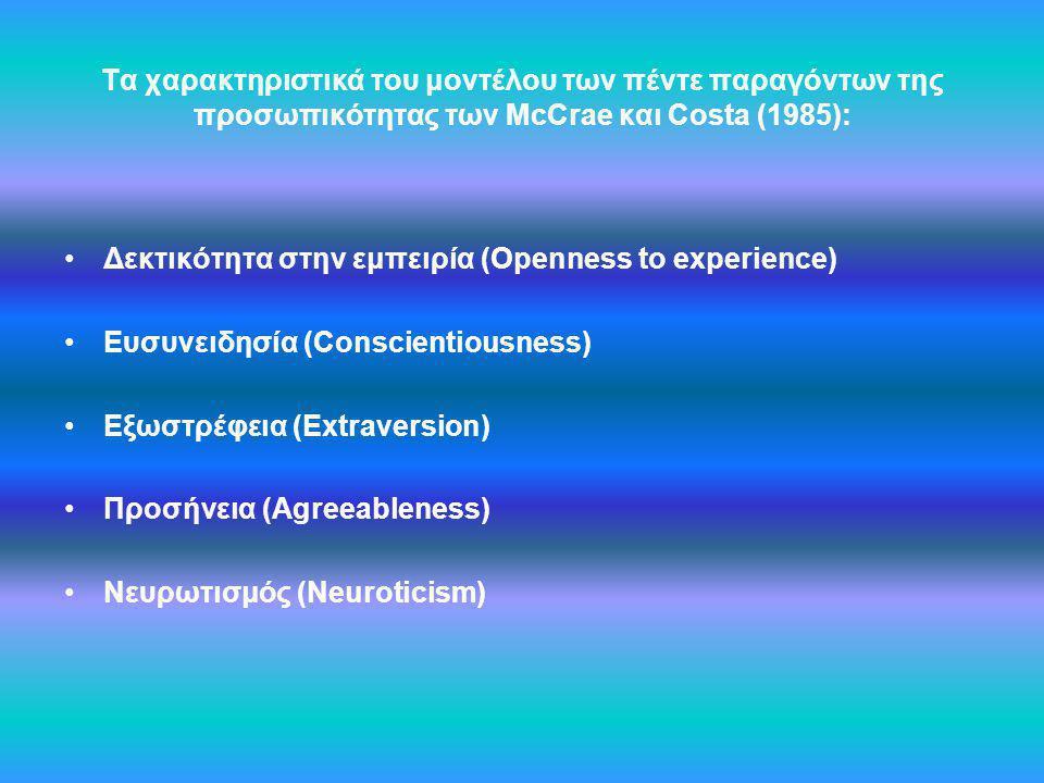 Τα χαρακτηριστικά του μοντέλου των πέντε παραγόντων της προσωπικότητας των McCrae και Costa (1985): Δεκτικότητα στην εμπειρία (Openness to experience)