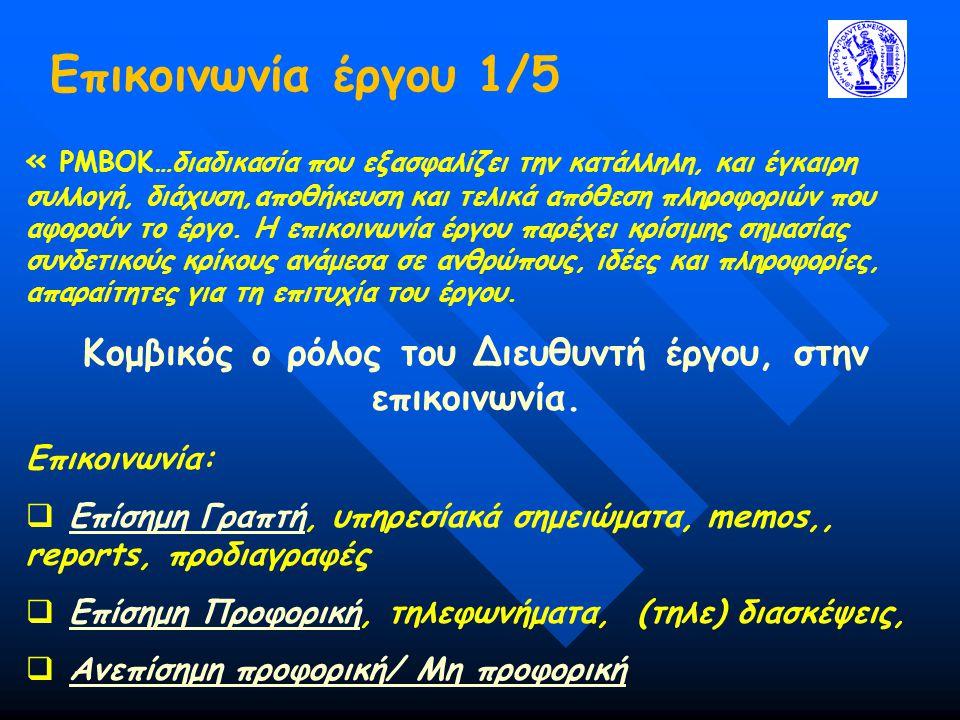 Οργανωτικές Δομές Έργου 7/14  Αμιγής Δομή κατά λειτουργίες ΠΛΕΟΝΕΚΤΗΜΑΤΑΜΕΙΟΝΕΚΤΗΜΑΤΑ Απλή/Ευέλικτη, εύκολη εναλλαγή απασχολήσεων μεταξύ έργων Δεν υπάρχει ένας υπεύθυνος, μειονέκτημα ειδικά για σύνθετα έργα Συσσώρευση τεχνογνωσίας στα λειτουργικά τμήματα Μακρύτεροι κύκλοι επικοινωνίας, μέσω του ΓΔ Καλή υποστήριξη/Μικρός χρόνος αντίδρασης Το έργο δεν είναι η κύρια προτεραιότητα των τμημάτων/καθυστερήσεις Διευκόλυνση παρακολούθησης/ελέγχου εργασίας Έλλειψη συντονισμού μεταξύ των τμημάτων Γραμμές επικοινωνίας, μικρές και καλά εγκατεστημένες Δεν είναι αποτελεσματική για περιβάλλον πολλαπλών έργων, συγκρούσεις στον ορισμό προτεραιοτήτων Προσδιορισμένες ευθύνες και γραμμές εξουσίας Απαιτήσεις για οριζόντιες γραμμές συντονισμού