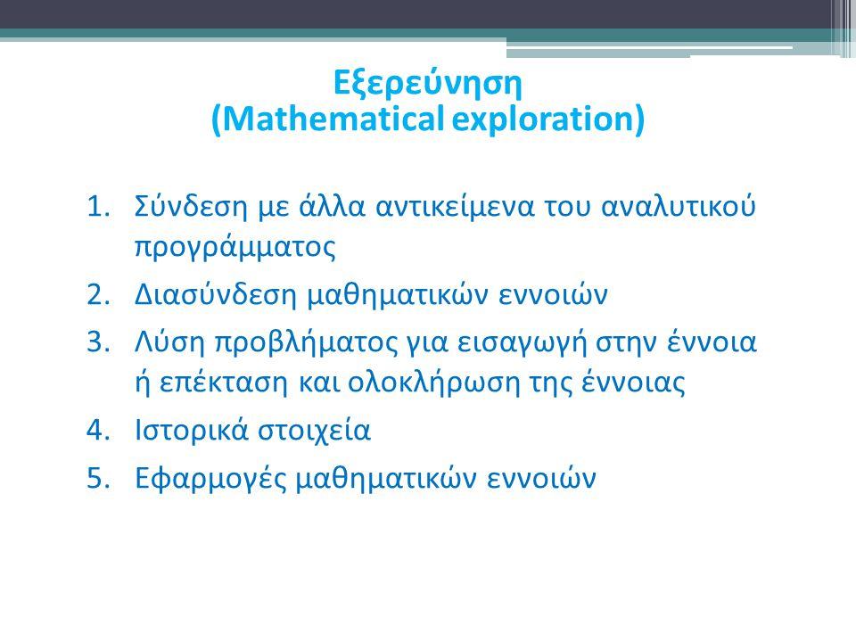 1.Σύνδεση με άλλα αντικείμενα του αναλυτικού προγράμματος 2.Διασύνδεση μαθηματικών εννοιών 3.Λύση προβλήματος για εισαγωγή στην έννοια ή επέκταση και