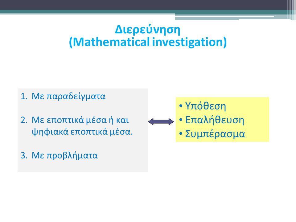 1.Με παραδείγματα 2.Με εποπτικά μέσα ή και ψηφιακά εποπτικά μέσα. 3.Με προβλήματα Υπόθεση Επαλήθευση Συμπέρασμα Διερεύνηση (Mathematical investigation