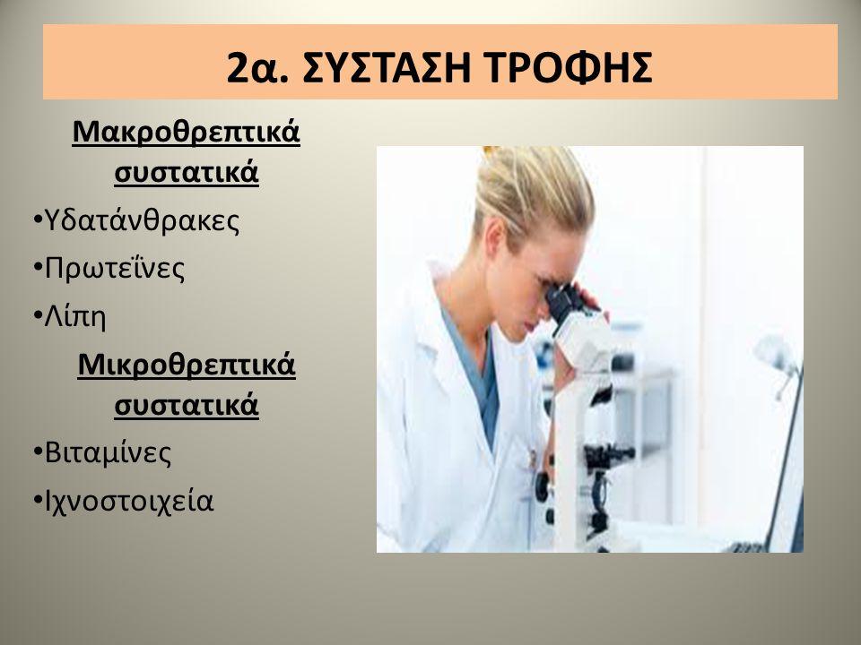 2α. ΣΥΣΤΑΣΗ ΤΡΟΦΗΣ Μακρoθρεπτικά συστατικά Υδατάνθρακες Πρωτεΐνες Λίπη Μικροθρεπτικά συστατικά Βιταμίνες Ιχνοστοιχεία