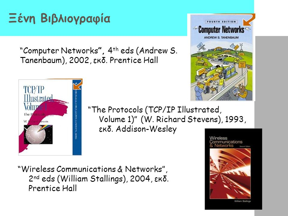 Ελληνική Βιβλιογραφία (IΙI) «Επικοινωνίες Υπολογιστών και Δεδομένων» (Stallings W), 2002, εκδ. Τζιόλα «Δίκτυα Ευρείας Ζώνης» (Βενιέρης Ι.), 2004, εκδ.