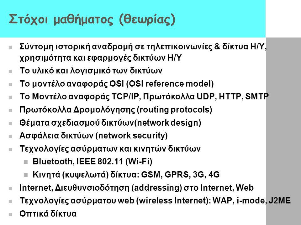 Στόχοι μαθήματος (θεωρίας) Σύντομη ιστορική αναδρομή σε τηλεπικοινωνίες & δίκτυα Η/Υ, χρησιμότητα και εφαρμογές δικτύων Η/Υ Το υλικό και λογισμικό των δικτύων To μοντέλο αναφοράς OSI (OSI reference model) To Μοντέλο αναφοράς TCP/IP, Πρωτόκολλα UDP, HTTP, SMTP Πρωτόκολλα Δρομολόγησης (routing protocols) Θέματα σχεδιασμού δικτύων(network design) Ασφάλεια δικτύων (network security) Τεχνολογίες ασύρματων και κινητών δικτύων Bluetooth, IEEE 802.11 (Wi-Fi) Κινητά (κυψελωτά) δίκτυα: GSM, GPRS, 3G, 4G Internet, Διευθυνσιοδότηση (addressing) στο Internet, Web Τεχνολογίες ασύρματου web (wireless Internet): WAP, i-mode, J2ME Οπτικά δίκτυα