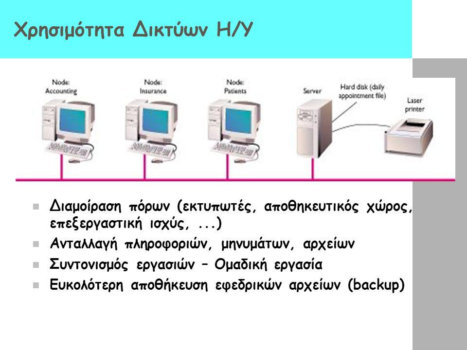 Δίκτυα Η/Υ Δίκτυο υπολογιστών (computer network): δύο τουλάχιστον Η/Υ συνδεδεμένοι ώστε να μπορούν να μοιράζονται δεδομένα και πόρους Δομικά στοιχεία