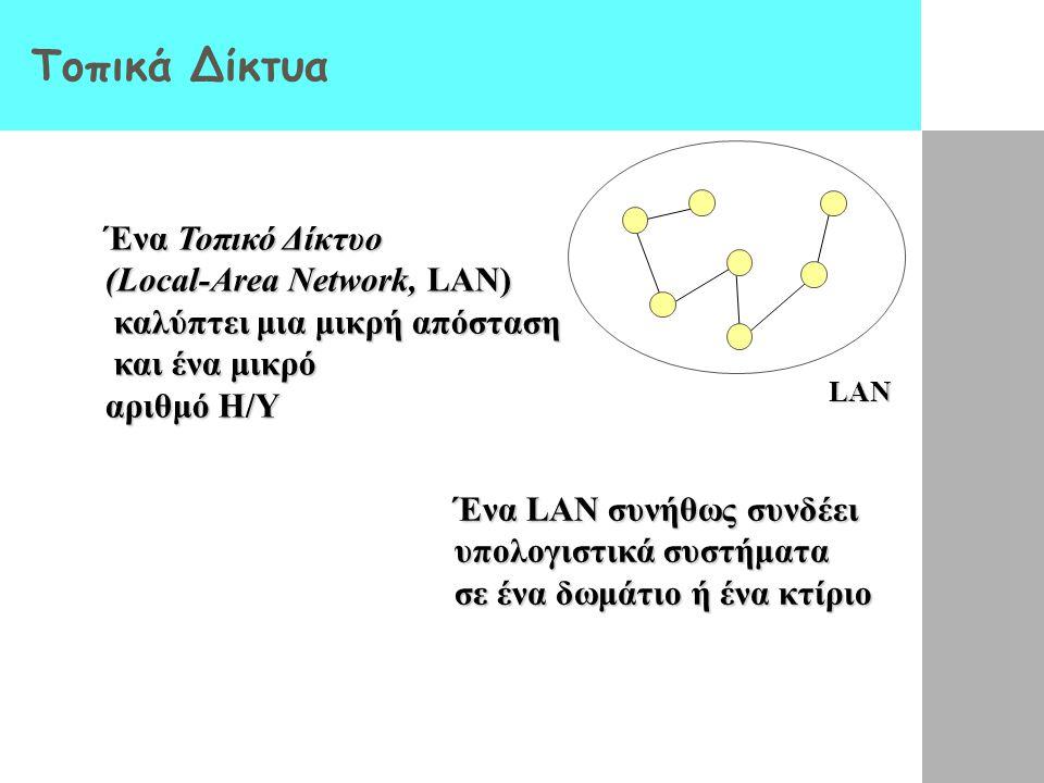 Κατηγοριοποίηση Δικτύων βάσει Μεγέθους Τοπικό δίκτυο (Local Area Network, LAN) Δίκτυο ευρείας ζώνης (Wide Area Network, WAN) Διαδίκτυο (Internet)