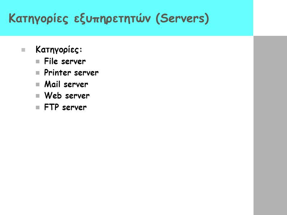 Δίκτυα πελάτη/ εξυπηρέτη (client/server) Πολλοί πελάτες μοιράζονται τις υπηρεσίες (δεδομένα και προγράμματα) ενός κεντρικού εξυπηρέτη Ισότιμα δίκτυα (