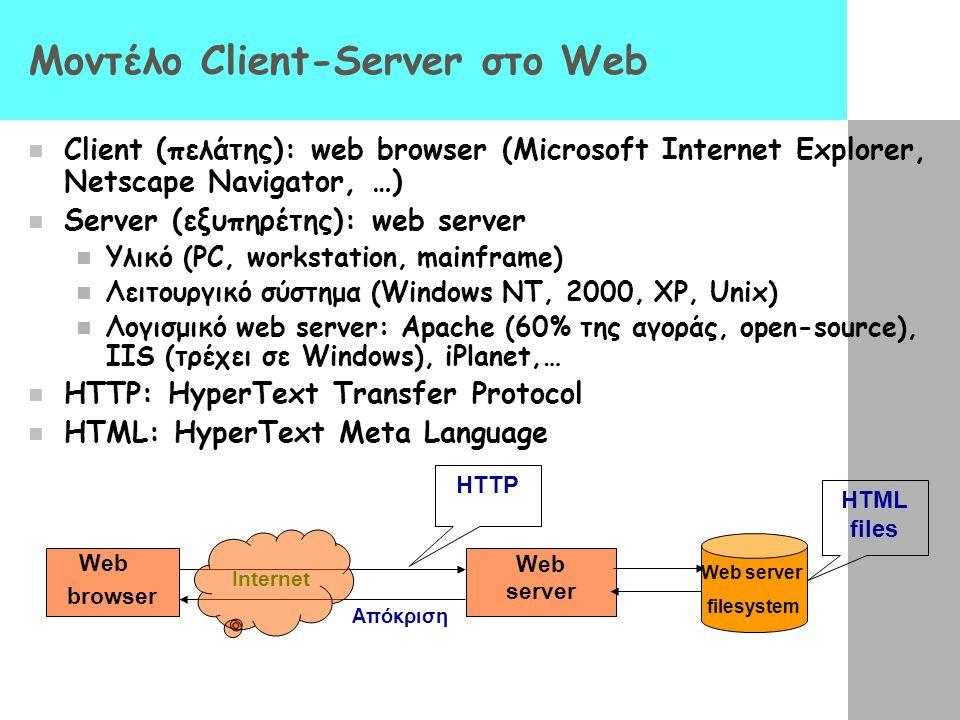 Υπερκείμενο ( HyperText ) Το Web είναι βασισμένο στην έννοια του υπερκειμένου - ένας μηχανισμός όπου η πληροφορία είναι κατανεμημένη σε πολλές σελίδες
