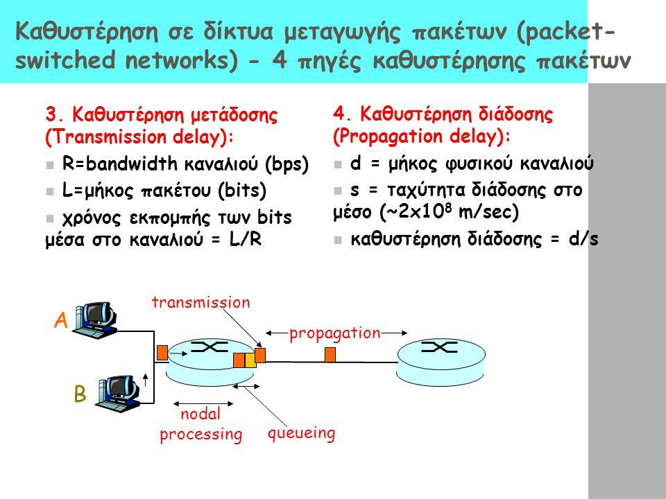 Καθυστέρηση σε δίκτυα μεταγωγής πακέτων (packet- switched networks) - 4 πηγές καθυστέρησης πακέτων 1. Επεξεργασία στον κόμβο (processing): Διάβασμα επ