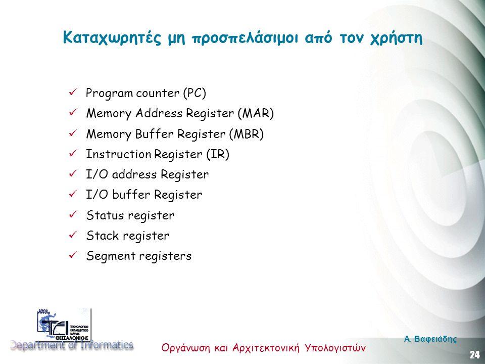 24 Οργάνωση και Αρχιτεκτονική Υπολογιστών A. Βαφειάδης Καταχωρητές μη προσπελάσιμοι από τον χρήστη Program counter (PC) Memory Address Register (ΜΑR)