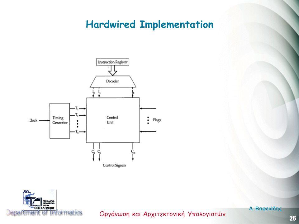26 Οργάνωση και Αρχιτεκτονική Υπολογιστών A. Βαφειάδης Hardwired Implementation