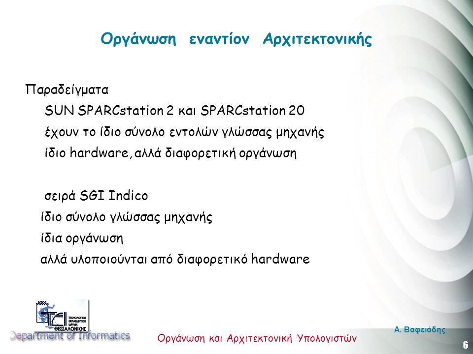 6 Οργάνωση και Αρχιτεκτονική Υπολογιστών A. Βαφειάδης Οργάνωση εναντίον Αρχιτεκτονικής Παραδείγματα SUN SPARCstation 2 και SPARCstation 20 έχουν το ίδ