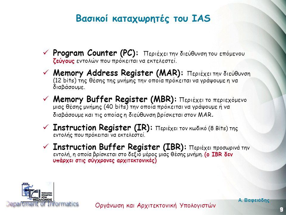 9 Οργάνωση και Αρχιτεκτονική Υπολογιστών A. Βαφειάδης Βασικοί καταχωρητές του IAS Program Counter (PC): Περιέχει την διεύθυνση του επόμενου ζεύγους εν