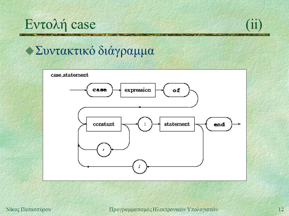 12Νίκος Παπασπύρου Προγραμματισμός Ηλεκτρονικών Υπολογιστών Εντολή case(ii) u Συντακτικό διάγραμμα