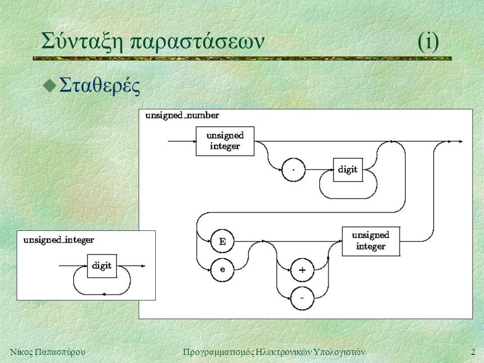 2Νίκος Παπασπύρου Προγραμματισμός Ηλεκτρονικών Υπολογιστών Σύνταξη παραστάσεων(i) u Σταθερές