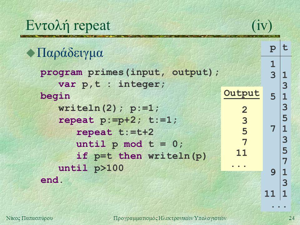 24Νίκος Παπασπύρου Προγραμματισμός Ηλεκτρονικών Υπολογιστών Εντολή repeat(iv) u Παράδειγμα program primes(input, output); var p,t : integer; begin wri