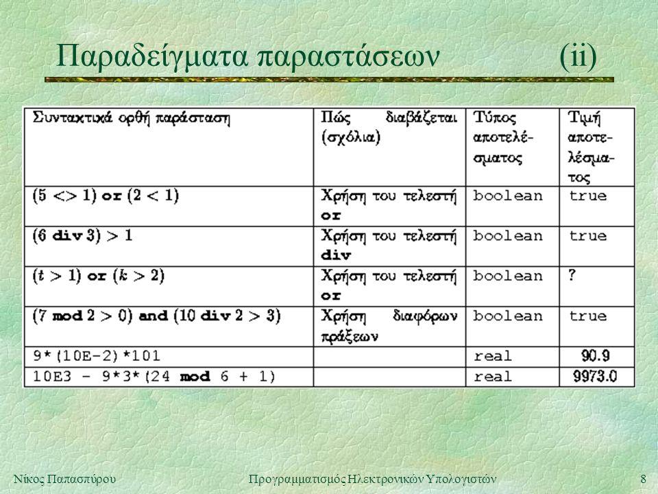 8Νίκος Παπασπύρου Προγραμματισμός Ηλεκτρονικών Υπολογιστών Παραδείγματα παραστάσεων(ii)