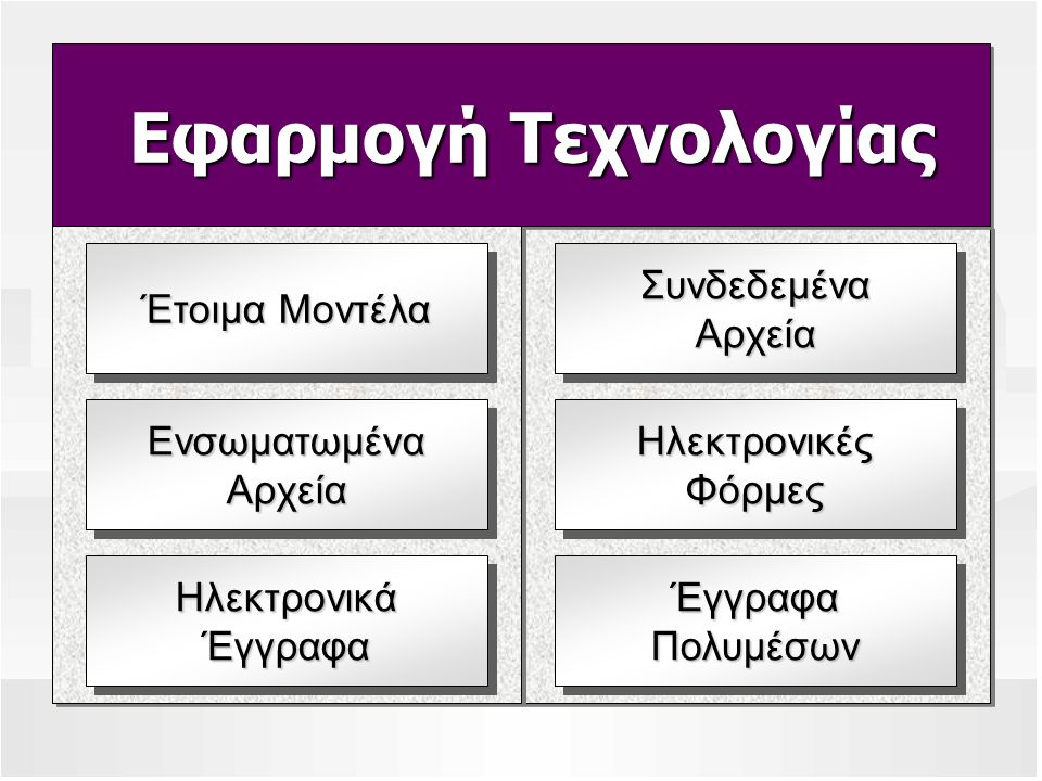 Εφαρμογή Τεχνολογίας Εφαρμογή Τεχνολογίας Έτοιμα Μοντέλα Ενσωματωμένα Αρχεία Ηλεκτρονικά Έγγραφα Συνδεδεμένα Αρχεία Ηλεκτρονικές Φόρμες Έγγραφα Πολυμέσων