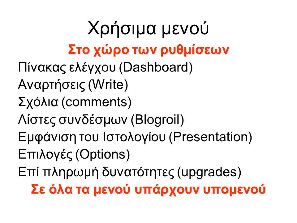Χρήσιμα μενού Στο χώρο των ρυθμίσεων Πίνακας ελέγχου (Dashboard) Αναρτήσεις (Write) Σχόλια (comments) Λίστες συνδέσμων (Blogroil) Εμφάνιση του Ιστολογ