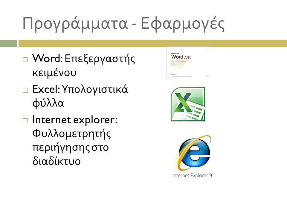 Προγράμματα - Εφαρμογές  Word: Επεξεργαστής κειμένου  Excel: Υπολογιστικά φύλλα  Internet explorer: Φυλλομετρητής περιήγησης στο διαδίκτυο