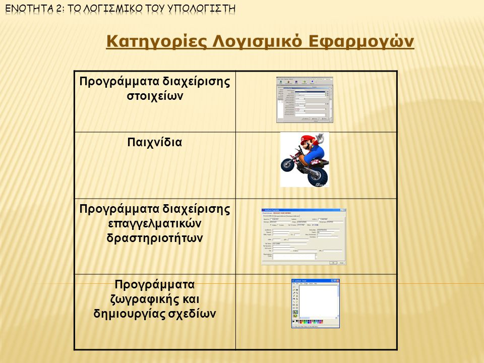 Κατηγορίες Λογισμικό Εφαρμογών Προγράμματα διαχείρισης στοιχείων Παιχνίδια Προγράμματα διαχείρισης επαγγελματικών δραστηριοτήτων Προγράμματα ζωγραφική