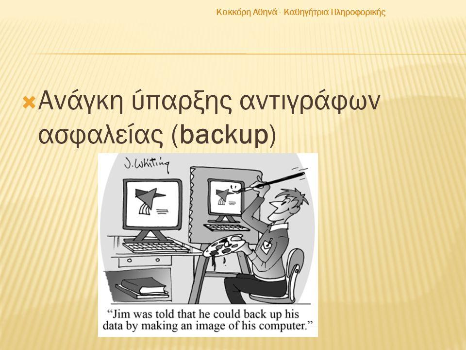  Ανάγκη ύπαρξης αντιγράφων ασφαλείας (backup) Κοκκόρη Αθηνά - Καθηγήτρια Πληροφορικής