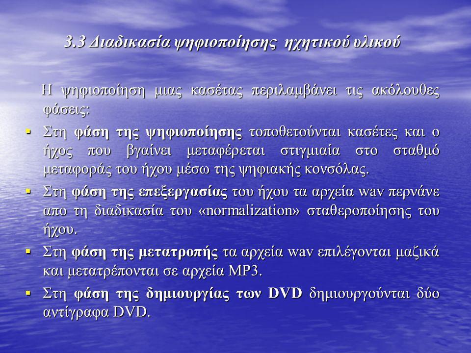 3.3 Διαδικασία ψηφιοποίησης ηχητικού υλικού Η ψηφιοποίηση μιας κασέτας περιλαμβάνει τις ακόλουθες φάσεις: Η ψηφιοποίηση μιας κασέτας περιλαμβάνει τις
