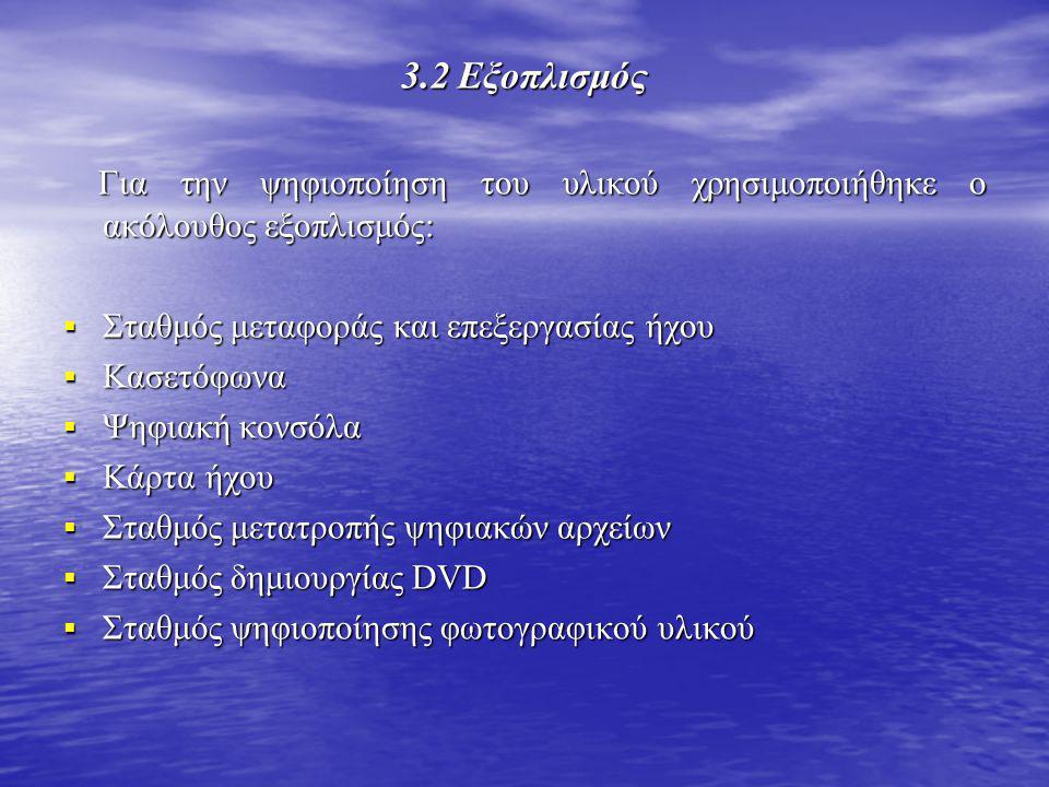 3.2 Εξοπλισμός Για την ψηφιοποίηση του υλικού χρησιμοποιήθηκε ο ακόλουθος εξοπλισμός: Για την ψηφιοποίηση του υλικού χρησιμοποιήθηκε ο ακόλουθος εξοπλισμός:  Σταθμός μεταφοράς και επεξεργασίας ήχου  Κασετόφωνα  Ψηφιακή κονσόλα  Κάρτα ήχου  Σταθμός μετατροπής ψηφιακών αρχείων  Σταθμός δημιουργίας DVD  Σταθμός ψηφιοποίησης φωτογραφικού υλικού