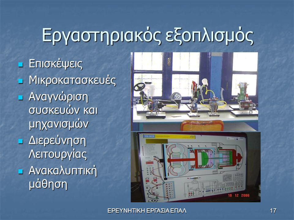 ΕΡΕΥΝΗΤΙΚΗ ΕΡΓΑΣΙΑ ΕΠΑΛ17 Εργαστηριακός εξοπλισμός Επισκέψεις Επισκέψεις Μικροκατασκευές Μικροκατασκευές Αναγνώριση συσκευών και μηχανισμών Αναγνώριση