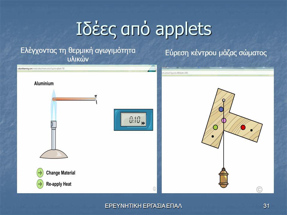 ΕΡΕΥΝΗΤΙΚΗ ΕΡΓΑΣΙΑ ΕΠΑΛ31 Ιδέες από applets Ελέγχοντας τη θερμική αγωγιμότητα υλικών Εύρεση κέντρου μάζας σώματος