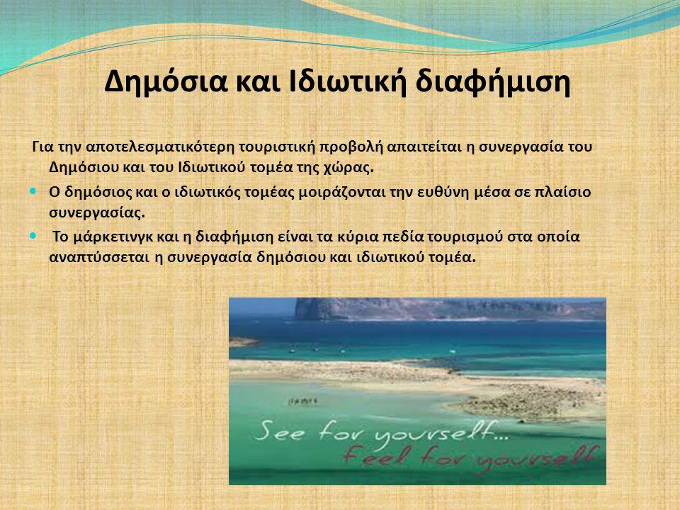 Δημόσια και Ιδιωτική διαφήμιση Για την αποτελεσματικότερη τουριστική προβολή απαιτείται η συνεργασία του Δημόσιου και του Ιδιωτικού τομέα της χώρας. Ο