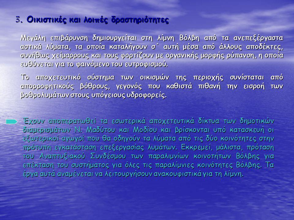 3. Οικιστικές και λοιπές δραστηριότητες Μεγάλη επιβάρυνση δημιουργείται στη λίμνη Βόλβη από τα ανεπεξέργαστα αστικά λύματα, τα οποία καταλήγουν σ΄ αυτ