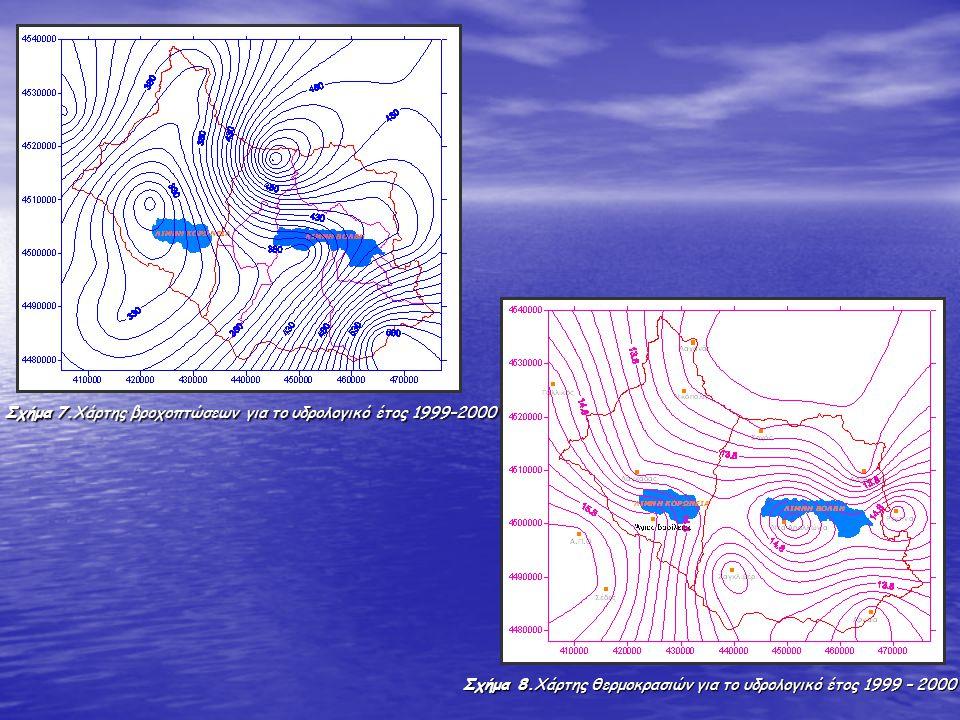 Σχήμα 7.Χάρτης βροχοπτώσεων για το υδρολογικό έτος 1999–2000 Σχήμα 7.Χάρτης βροχοπτώσεων για το υδρολογικό έτος 1999–2000 Σχήμα 8.Χάρτης θερμοκρασιών
