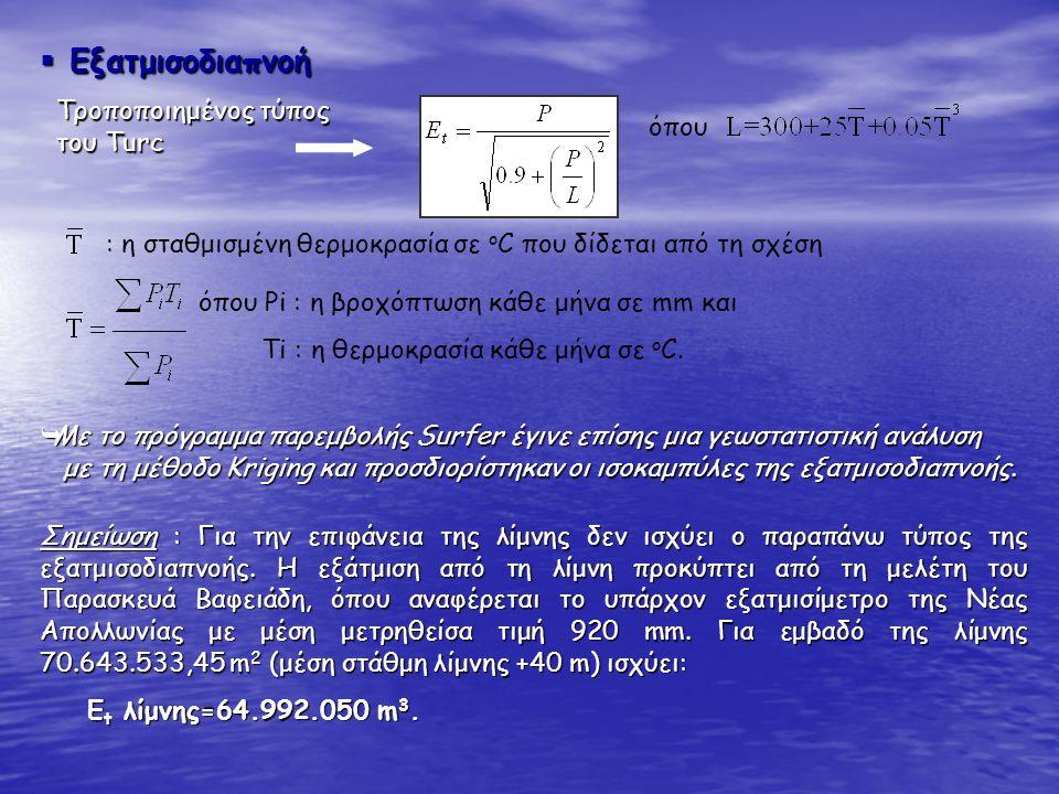  Εξατμισοδιαπνοή Τροποποιημένος τύπος του Turc όπου : η σταθμισμένη θερμοκρασία σε ο C που δίδεται από τη σχέση όπου Ρi : η βροχόπτωση κάθε μήνα σε m